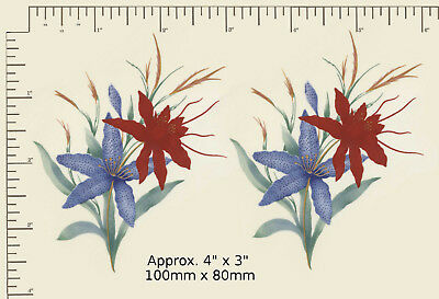 """2 Ceramic decals Decoupage Blue / Red floral Flowers Matthey Approx. 4"""" x 3"""" R20"""