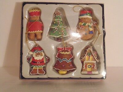 kurt adler gingerbread resin christmas ornaments set of 6 santa nutcracker bell