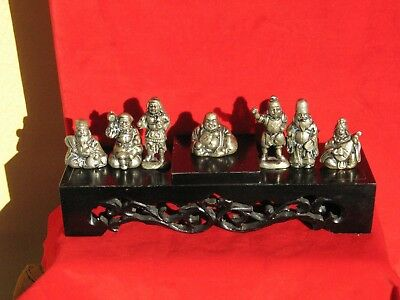 A2050 Vintage Set of Japanese 7 Metal Gods of Good Fortune w Carved Wood Stand