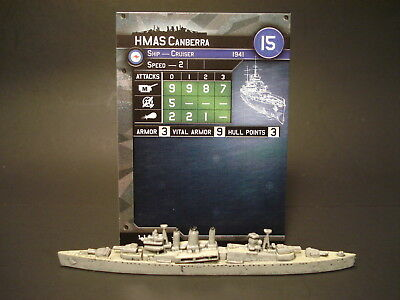 Axis and Allies War at Sea - 1/64 HMAS Canberra - Cruiser (Rare) AU(#1)