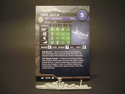 Axis and Allies War at Sea - 10/64 HMS Javelin - Destroyer (C) - UK(#6)
