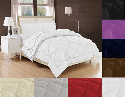 Solid Down Alternative Comforter Diamond Stitched Bed Cover 2/3Pc Set In 3 Sizes