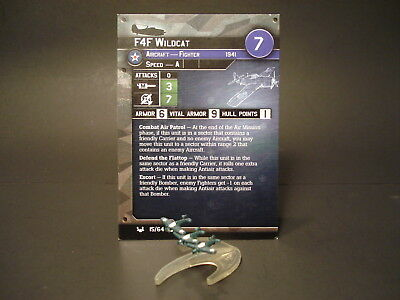 Axis and Allies War at Sea - 15/64 F4F Wildcat - Fighter (C) - USA(#11)