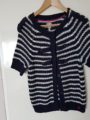 Lovely Girls Joules  Navy And White Stripe  Short Sleeve Cardigan Size 12 Years