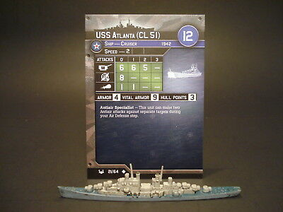 Axis and Allies War at Sea - 21/64 USS Atlanta - Cruiser (UC) - USA(#13)