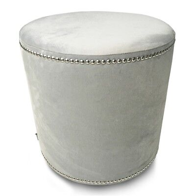 Pouf Charmanter runder Hocker Velvet Glamour Light Silver