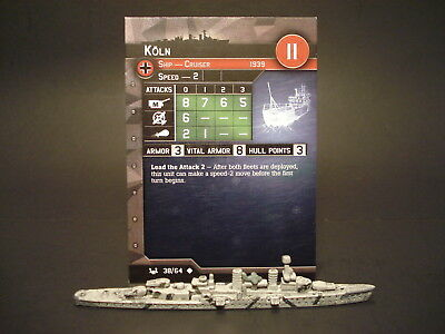 Axis and Allies War at Sea - 38/64 Koln - Cruiser (UC) - GE(#22)
