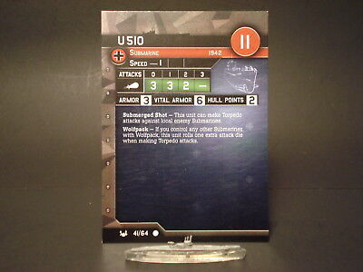 Axis and Allies War at Sea - 41/64 U-510 - Submarine (C) - GE(#24)