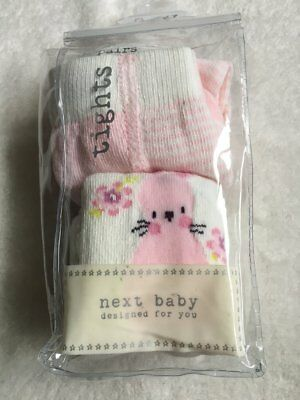 ***BNWT Next baby girls Bunny Pink tights 2 pack set 3-6 months***