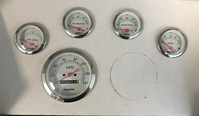 Dolphin 5 Gauge set White Face Mechanical Speedometer