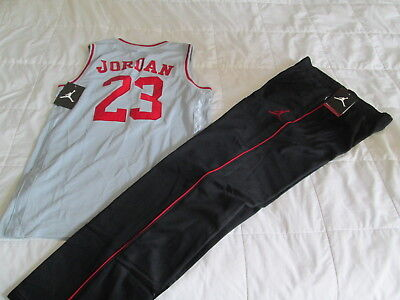 f08d74c0ffdc NEW 2Pc NIKE Air Jordan Boys BASKETBALL OUTFIT Jersey+Pants Blk Red LG FREE