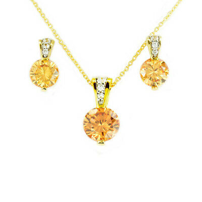 """14k Gold Plated Silver Round Champagne CZ Pendant/Necklace Earrings Set 18"""""""