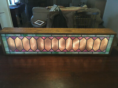 Antique Leaded Stained Glass Window With An Inside Led Lighted Oak Wood Casing