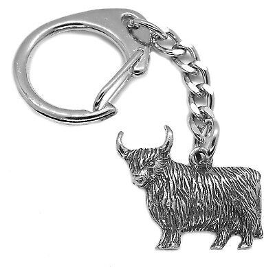 Scottish Highland Cow Pewter Keyring (Comes in Gift pouch, Keychain Made in UK)