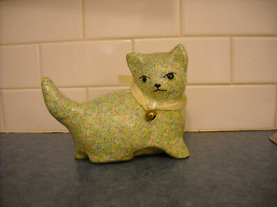 Vintage Papier Mache Kitten Cat Figurine Statue Tiny Flowers Pale Green Adorable