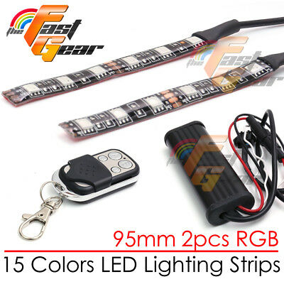 2 Pcs RGB Color 95mm LED Light Strip Fit Car Truck Lorry Boat