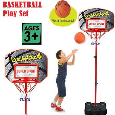Kids Adjustable Stand Free Standing Basketball Backboard Hoop Net Toy Set Medium