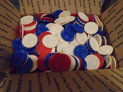 6Lbs of (Used) Mixed Plastic Poker Chip, (Colors Red-White & Blue)