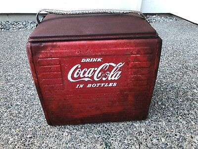 "Vintage Coca Cola Metal Cooler - Retro Coke Cooler with Tray Insert 17""X16""X13"""