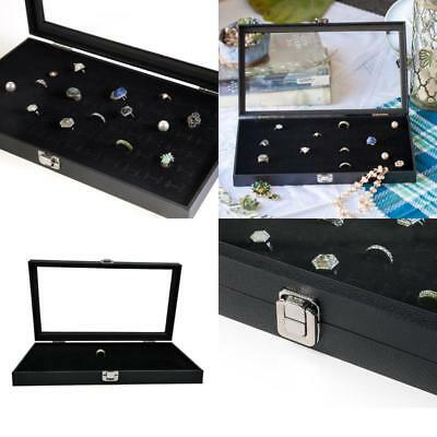 Ring Display Case Jewelry Organizer Storage Box Earring Holder Velvet Lined Tray