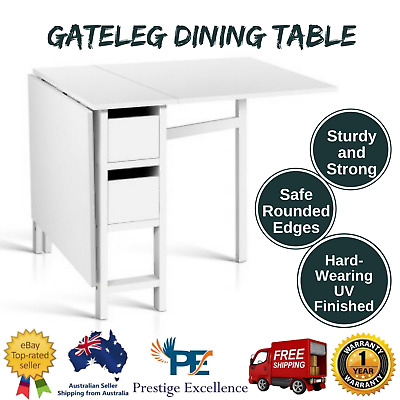 Foldable Dining Study Desk Work Space Craft Sewing Drawers Office Computer Table