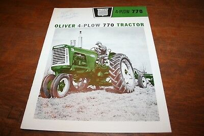Oliver 770 4 Plow Tractor Brochure Row Crop Wheatland Orchard and Grove 1961!