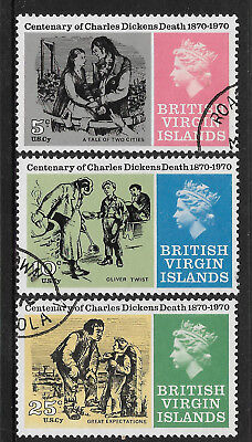 BRITISH VIRGIN IS 1970 CHARLES DICKENS DEATH CENTENARY OLIVER TWIST 3v FINE USED