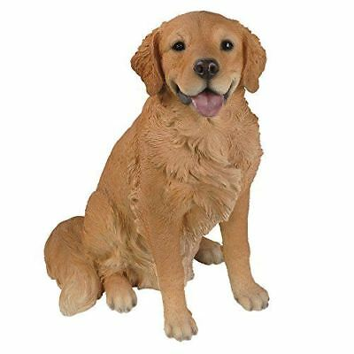 "Large Sitting Golden Retriever Statue With Glass Eyes 21"" Tall Hand Painted"