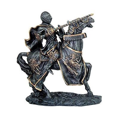 Medieval Heavy Armored Knight on Battle Horse Ready To Joust Figurine Resin