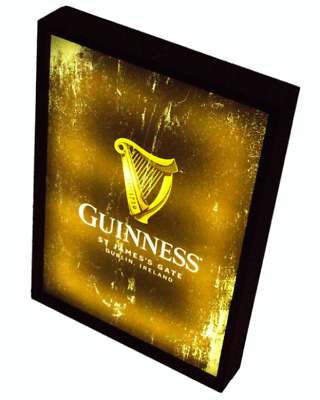 Guinness LED Light Box Sign Distressed Effect Irish Vintage Design Beer New