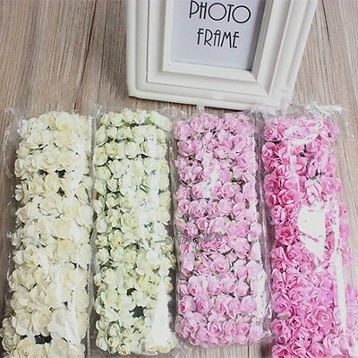 144pcs Miniature Paper Rose Flower Cards Favours Deco Crafts Wedding Party Red