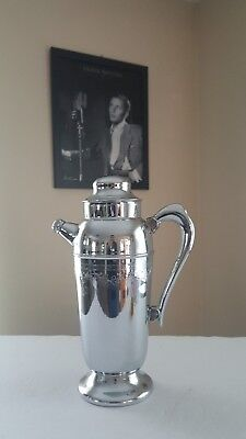 Martini Vintage Silver Plate  Ornate Chrome Pitcher With Grape Vine Design.