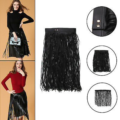 Womens Lady Black Hippie Boho Fringe Tassel PU Leather Mini Belt Skirt 70cm UK