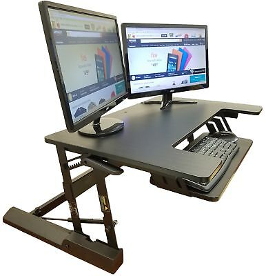 Computer Workstation Standing Desk Height Adjustable Sit Stand Riser Table 36''W