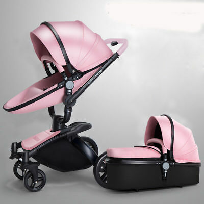 Luxury Baby stroller 3 in1 leather Carriage Infant Travel System Foldable Pram A