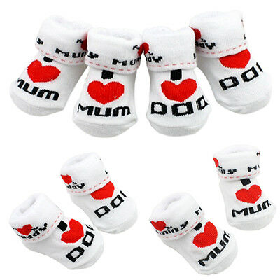 Cute Baby Cotton Socks I Love Mum/Dad 0-6 Months Newborn Infant Boys Girls Eager