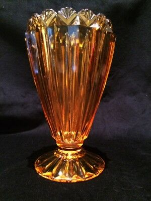 Large Art Deco Amber Depression Glass Vase