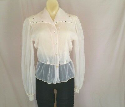 Vintage 20s 30s or 40s Sheer Long Sleeve Apricot Blouse W/Rhinestone Collar