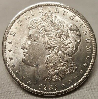 1921 Silver Morgan Dollar AU **ALMOST UNCIRCULATED** Rare US Antique Coin!