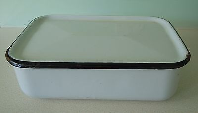 "Vintage White Enamel Container/box  With Lid, Size: 12"" X 8"" X 3 3/4"""