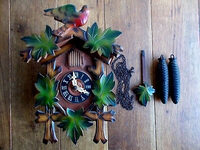 Vintage Wooden Cuckoo Cock With Carved Vine Leaves And Figure Of A Bird