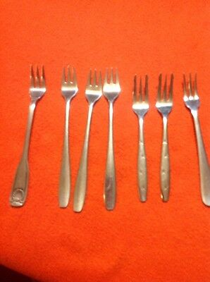 Lot of 7 Stainless Vintage Cocktail Forks Rogers, Wall, Royal Crown