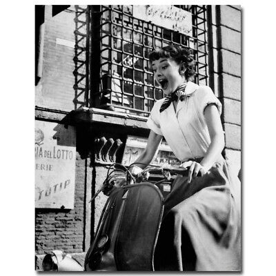 Audrey Hepburn Roman Holiday Classic Movie Star Silk Fabric Poster Canvas Prints