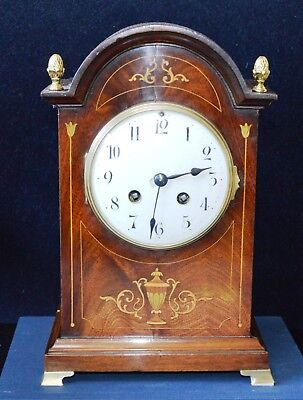 Antique Edwardian Mahogany Inlaid Striking Bracket Clock