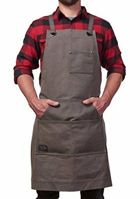 Hudson Durable Goods Heavy Duty Waxed Canvas Work Apron with Tool Pockets Grey