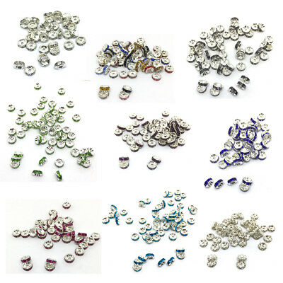 50 Rondelle Spacer 8mm Perlen Abstandshalter Strass Glas Kristall Beads