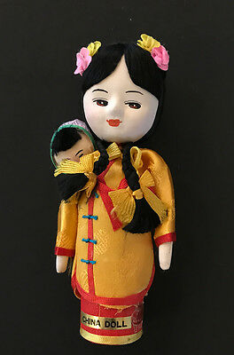 """Vtg Asian Doll & Child Painted Cloth Chinese 60's Made in Taiwan Oriental 6"""""""