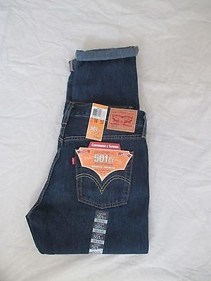 Women Levis Jeans 501 CT Tapered Leg Button Fly Color Dark Denim 178040012