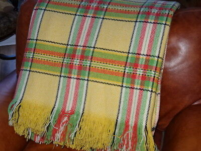 "Vintage Welsh Wool Check Blanket / Throw - Yellow/Green/Red 76"" x 87"""