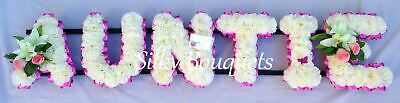 Auntie Artificial Silk Funeral Flower Any 6 Letter Tribute Name Wreath Memorial
